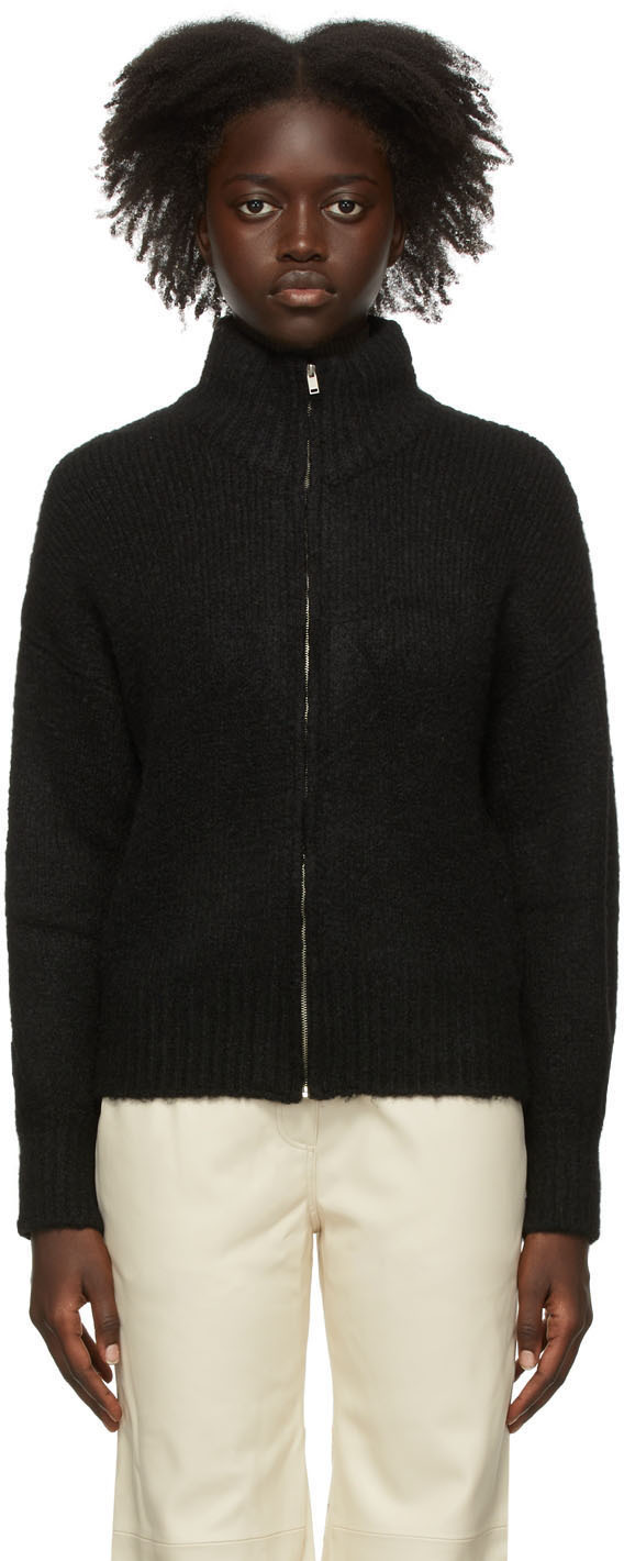 Black Trilly Zip-Up Sweater