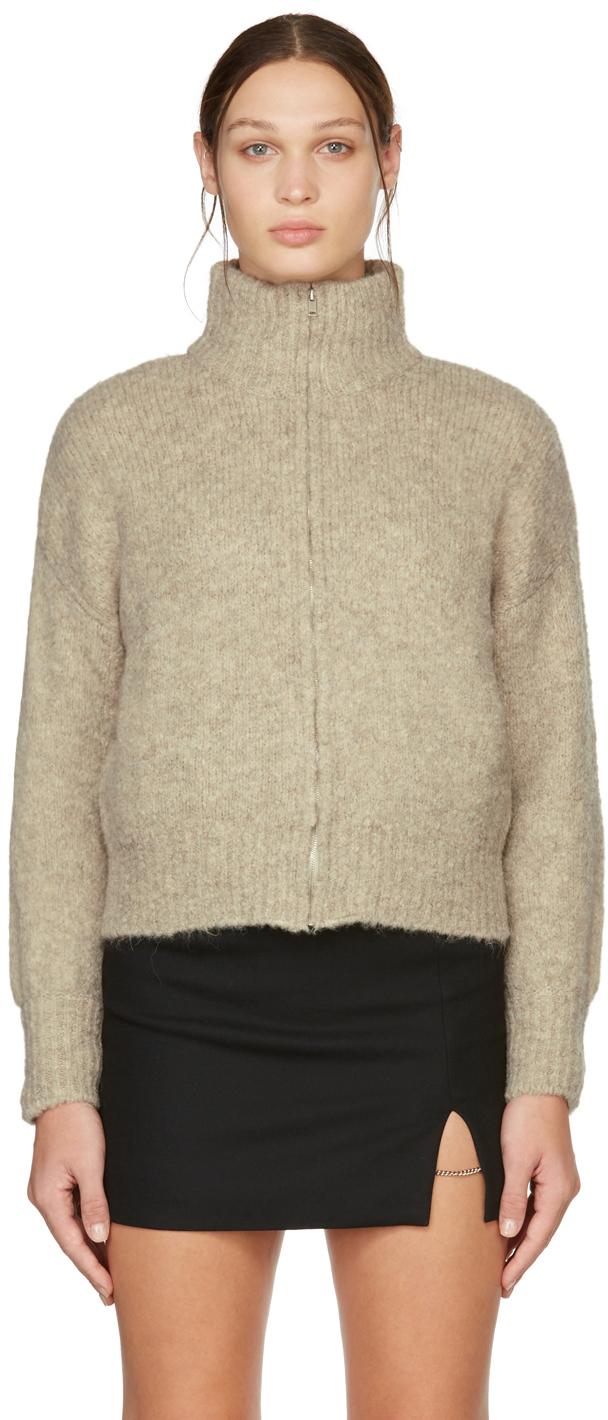 Beige Trilly Zip-Up Sweater