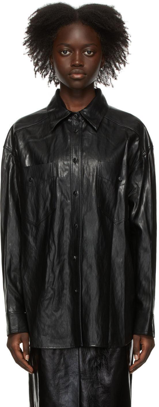 Black Faux-Leather Boxy Shirt