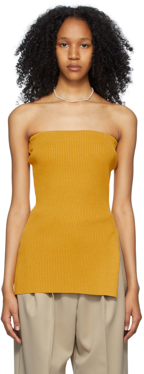 Yellow Knit Tube Top