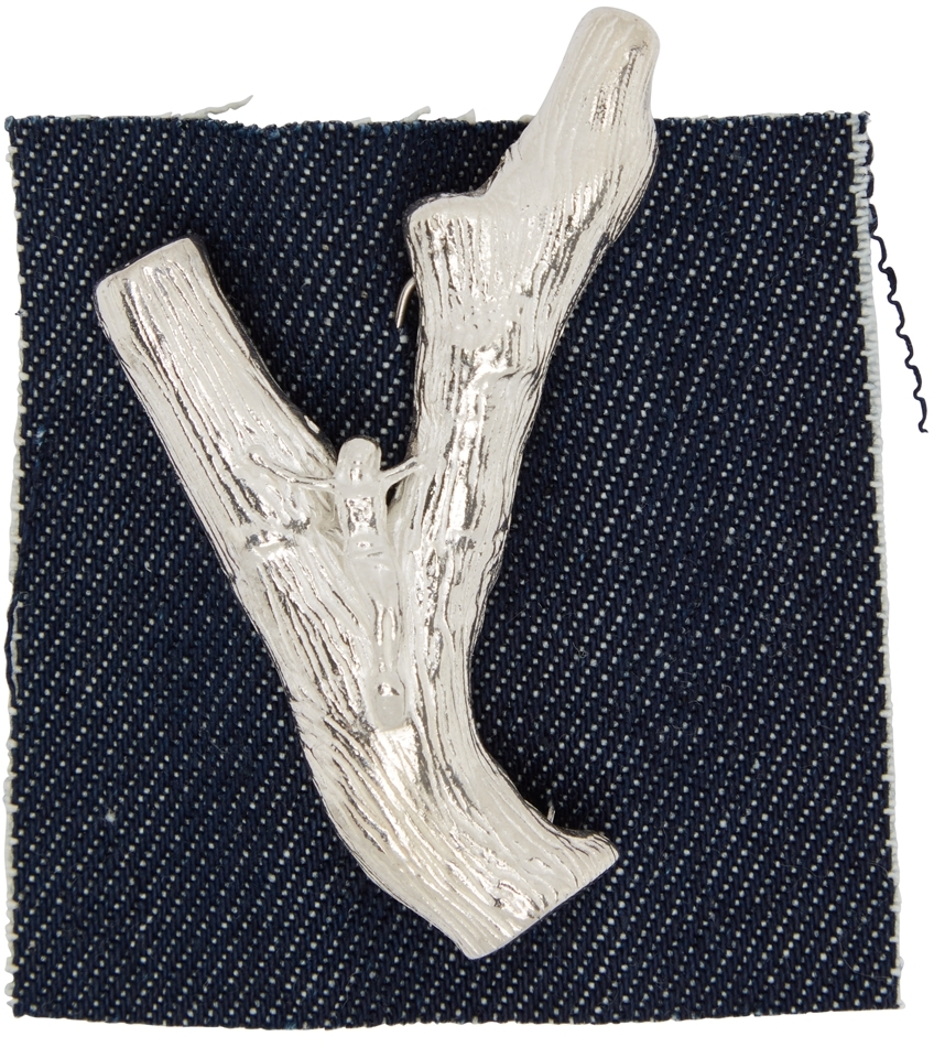 Silver Coral Crucifix Brooch