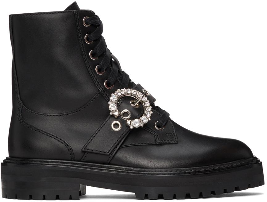 Jimmy Choo Black Cora Flat Combat boots