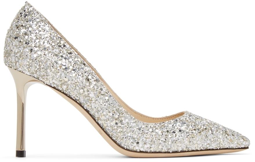 Silver Coarse Glitter Romy 85 Heels