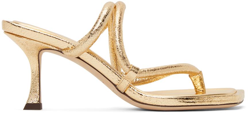 Gold Crackled Cape 70 Heeled Sandals