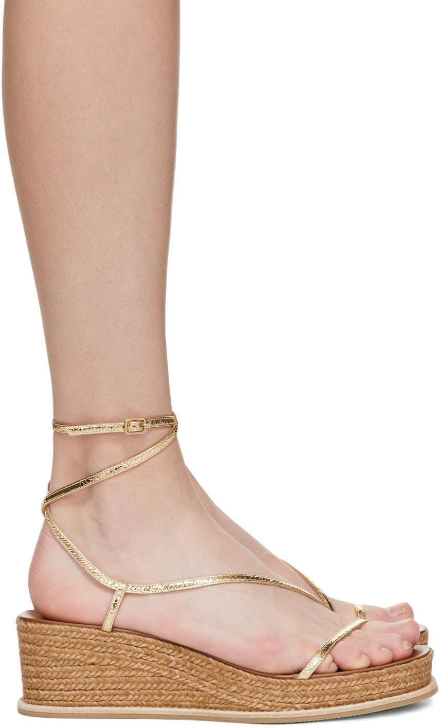 Gold & Brown Crackled Drive 60 Heeled Sandals