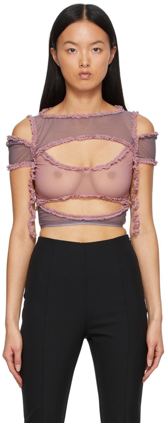 SSENSE Exclusive Pink & Purple Xochi Ruffle Cut Out T-Shirt