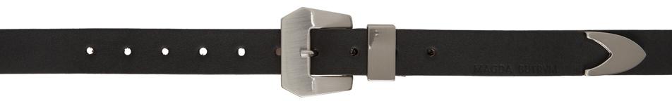 Black Brushed Modern Western Belt