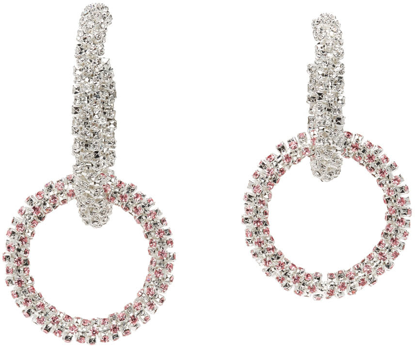 Silver & Pink Mismatched Double Hoop Crystal Earrings