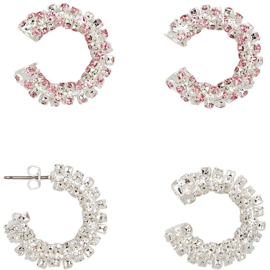 Silver & Pink Four-Set Hoop Earrings