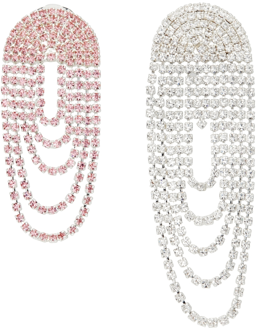 Silver & Pink Mismatched Crystal Drop Earrings