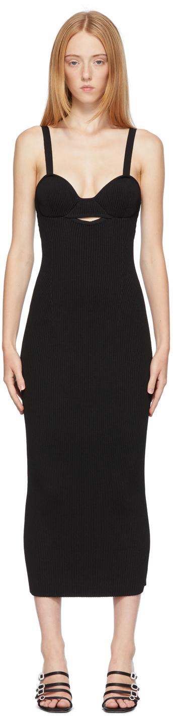Black Rib Knit Bustier Dress