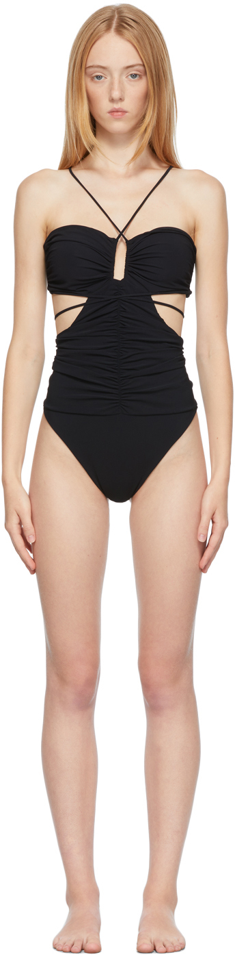 Black Strappy Cut-Out Bandeau One-Piece Swimsuit