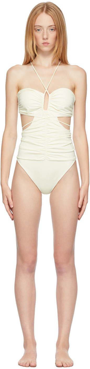 Off-White Strappy Cut-Out Bandeau One-Piece Swimsuit