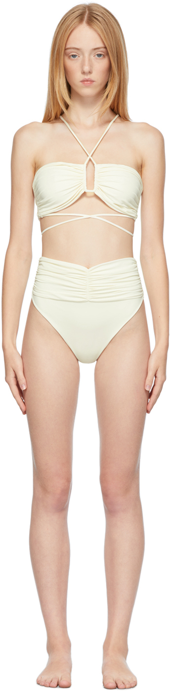 Off-White Crossed Wrap Bikini Top