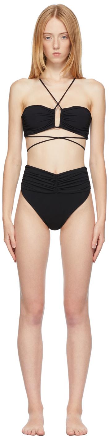 Black Crossed Wrap Bikini Top