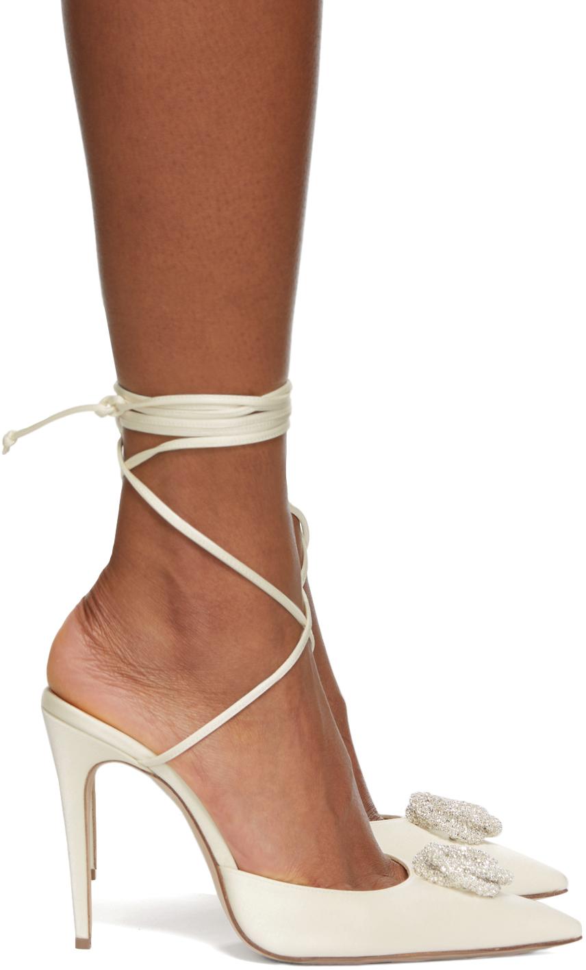 Off-White Silk Wrap Heels