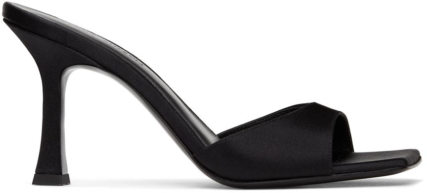 Black Silk Estonia Heeled Sandals