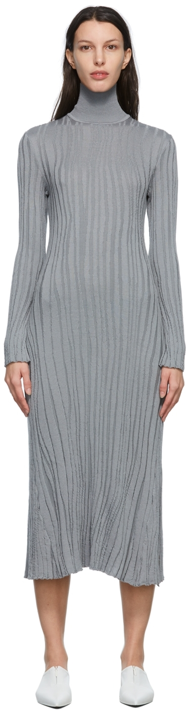 Grey Winding Ribbed Knitted Dress