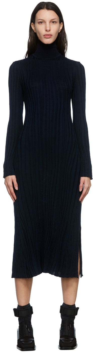 Navy Winding Ribbed Knitted Dress