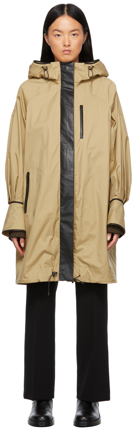 Beige Nylon Hooded Coat