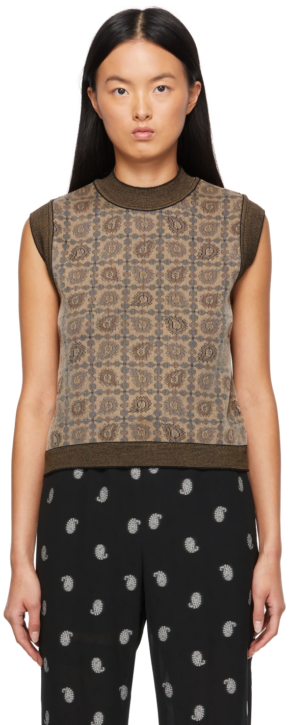 Mame Kurogouchi Brown Jacquard Knit Paisley Vest