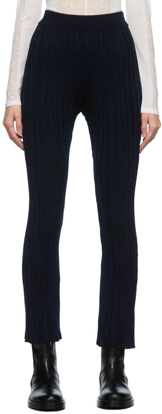 Navy Winding Ribbed Knitted Lounge Pants
