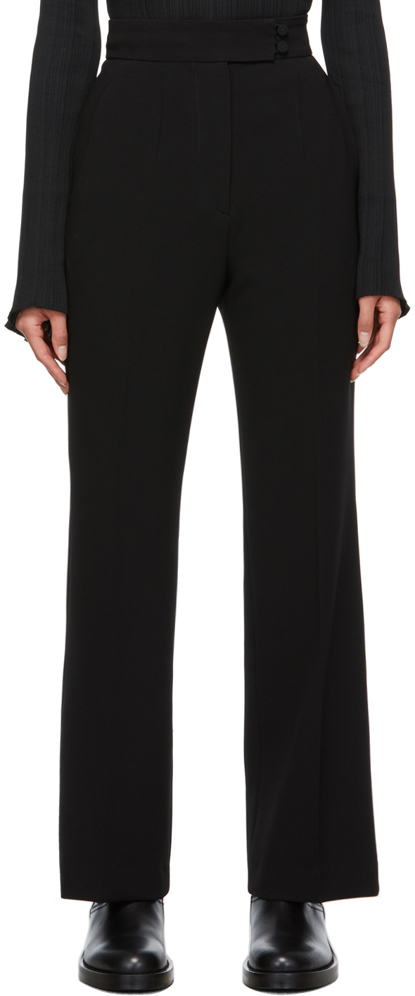 Black Creased Suit Trousers