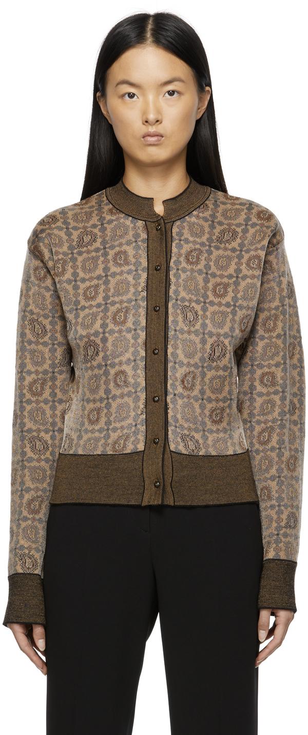 Brown Jacquard Knit Paisley Cardigan