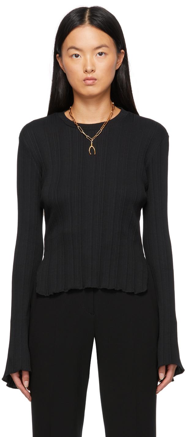 Black Rib Jersey Sweatshirt