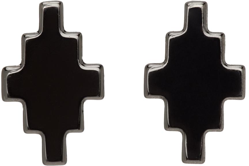 Gunmetal Cross Earrings