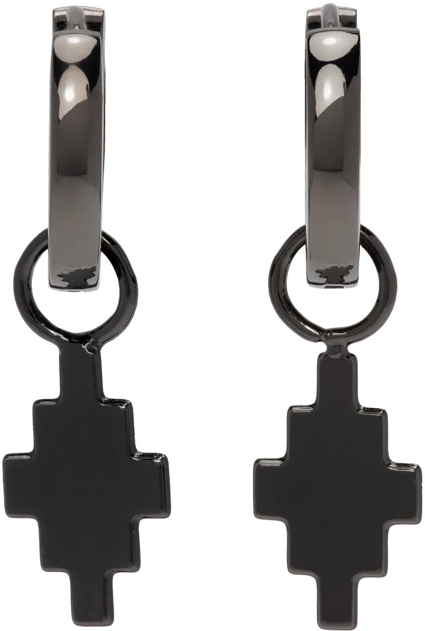 Gunmetal Cross Pendant Earrings