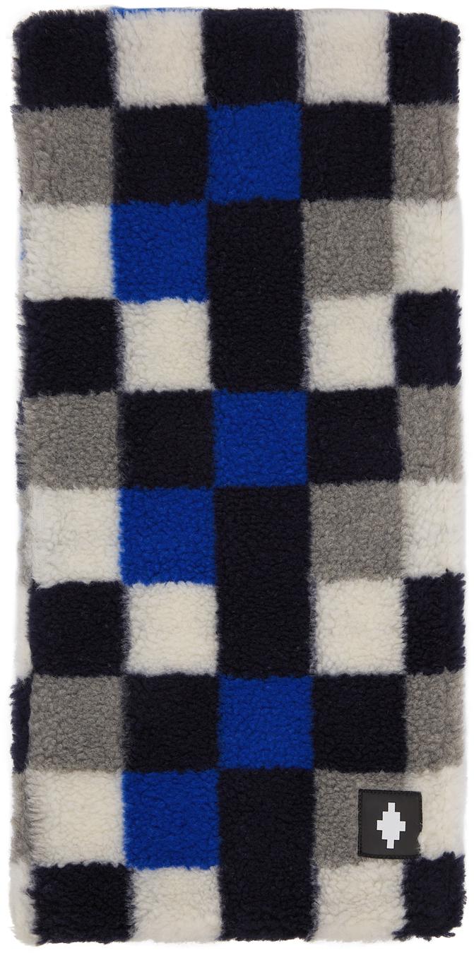 Blue & Grey Wool Checkerboard Scarf