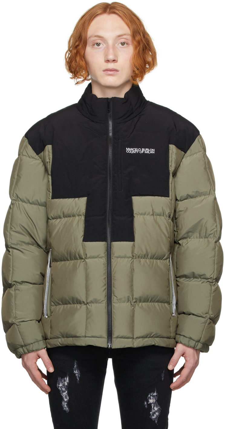 Khaki & Black Cross Block Puffer Jacket