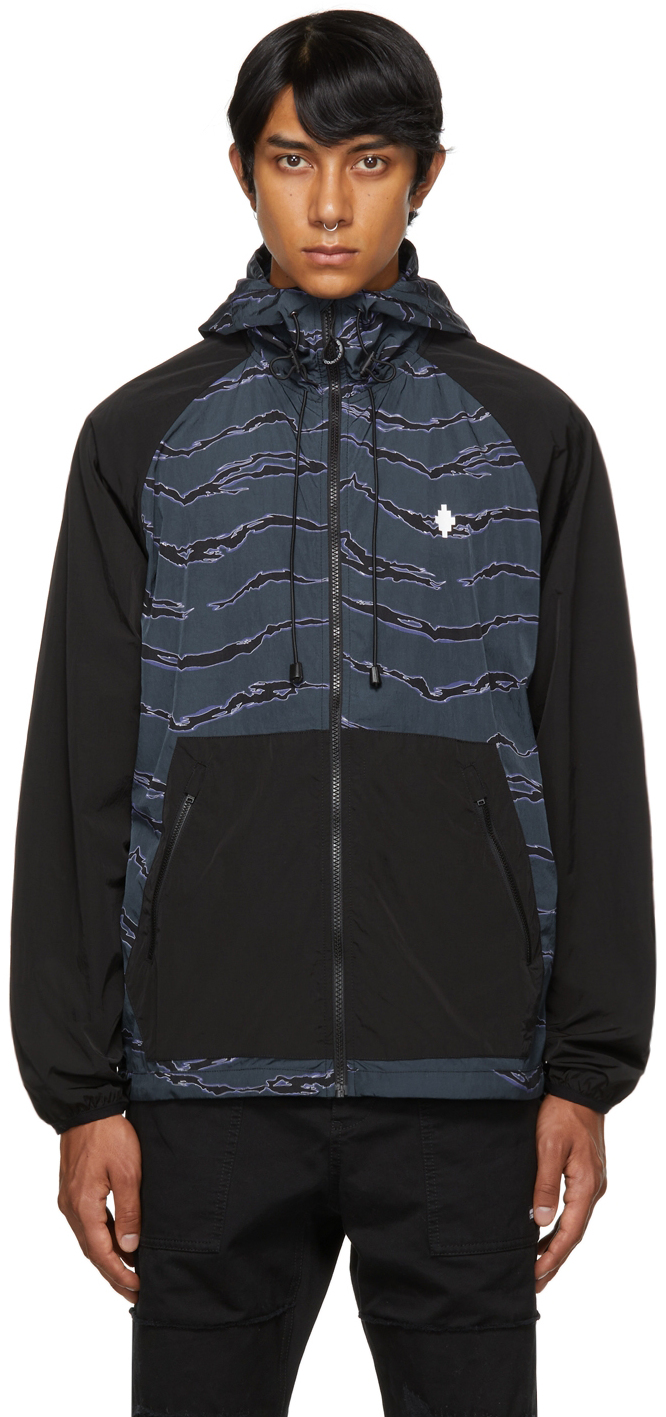 Black Nylon Windbreaker Jacket