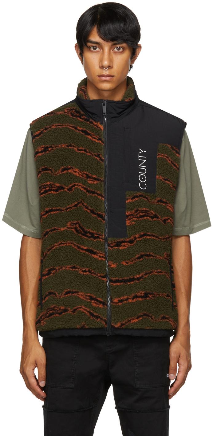Green & Orange Camo Pile Zip Vest