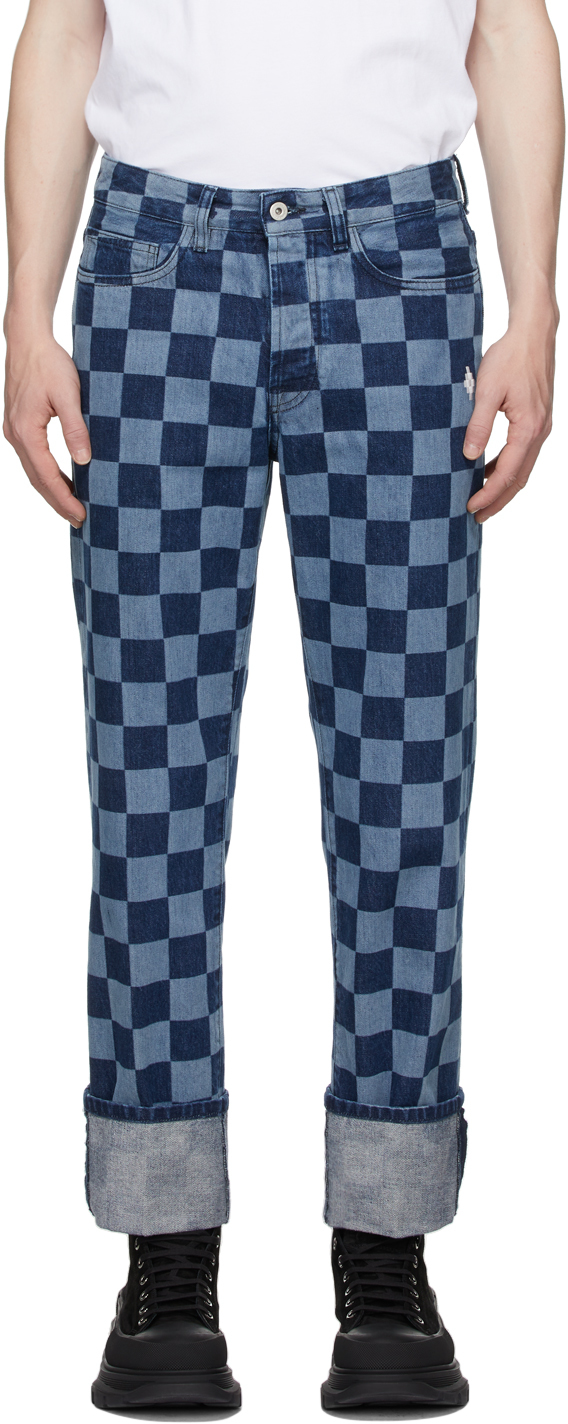 Blue & Navy Checkerboard Jeans