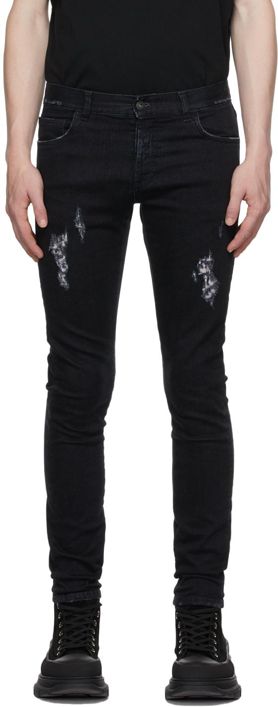 Black Slim Distressed Cross Jeans