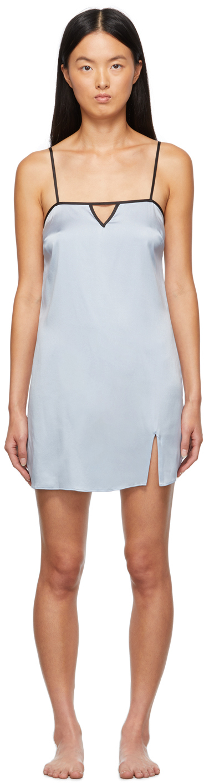 Blue Washable Silk Slip Dress
