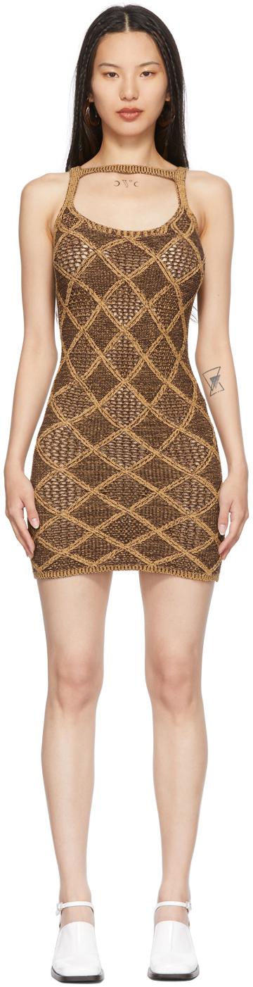 Brown & Tan Short Wafer Dress