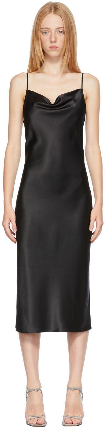 Black Silk Cowl Neck Slip Dress