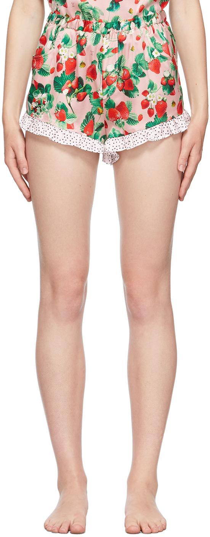 Pink Silk Ruffle Shorts