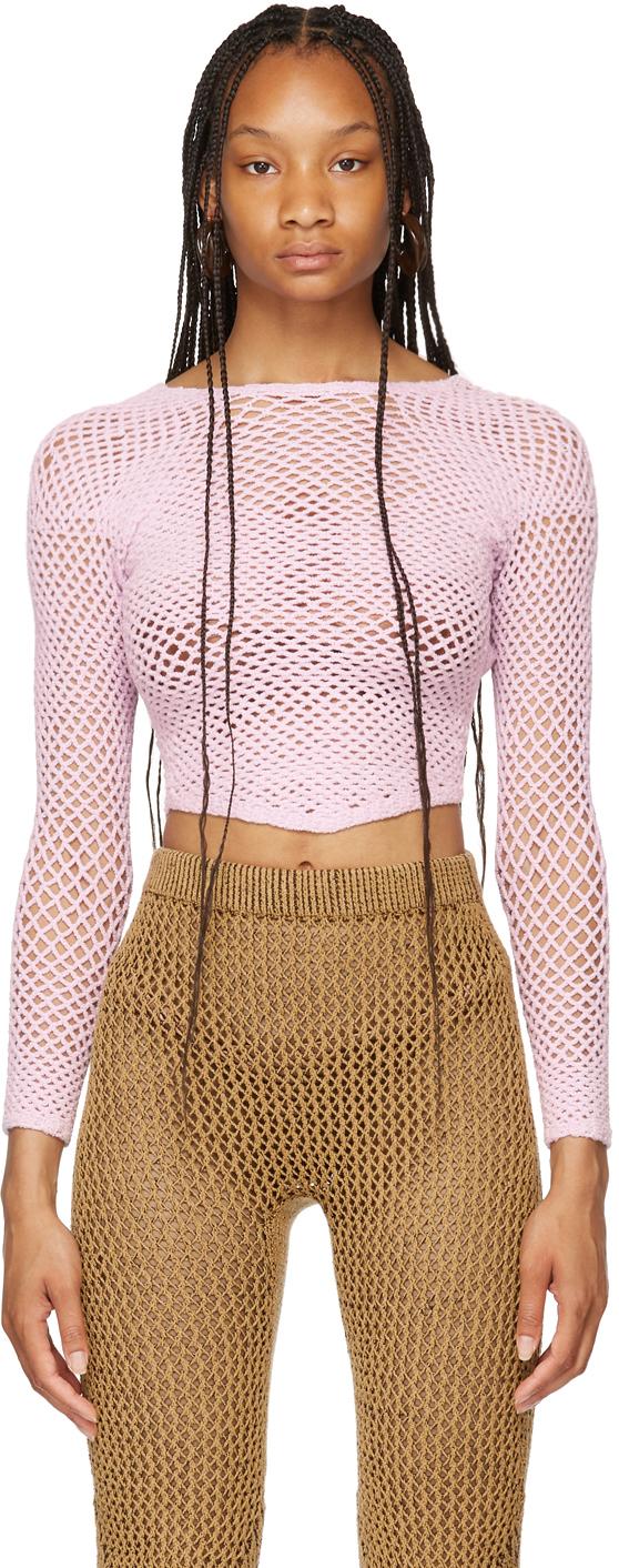 SSENSE Exclusive Pink Crochet Scan Long Sleeve Sweater
