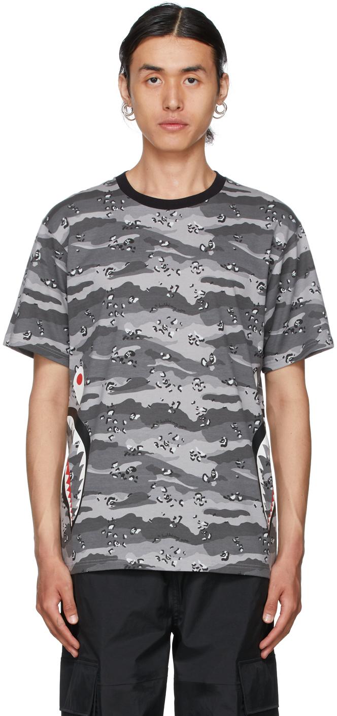 Grey Desert Camo Side Shark T-Shirt