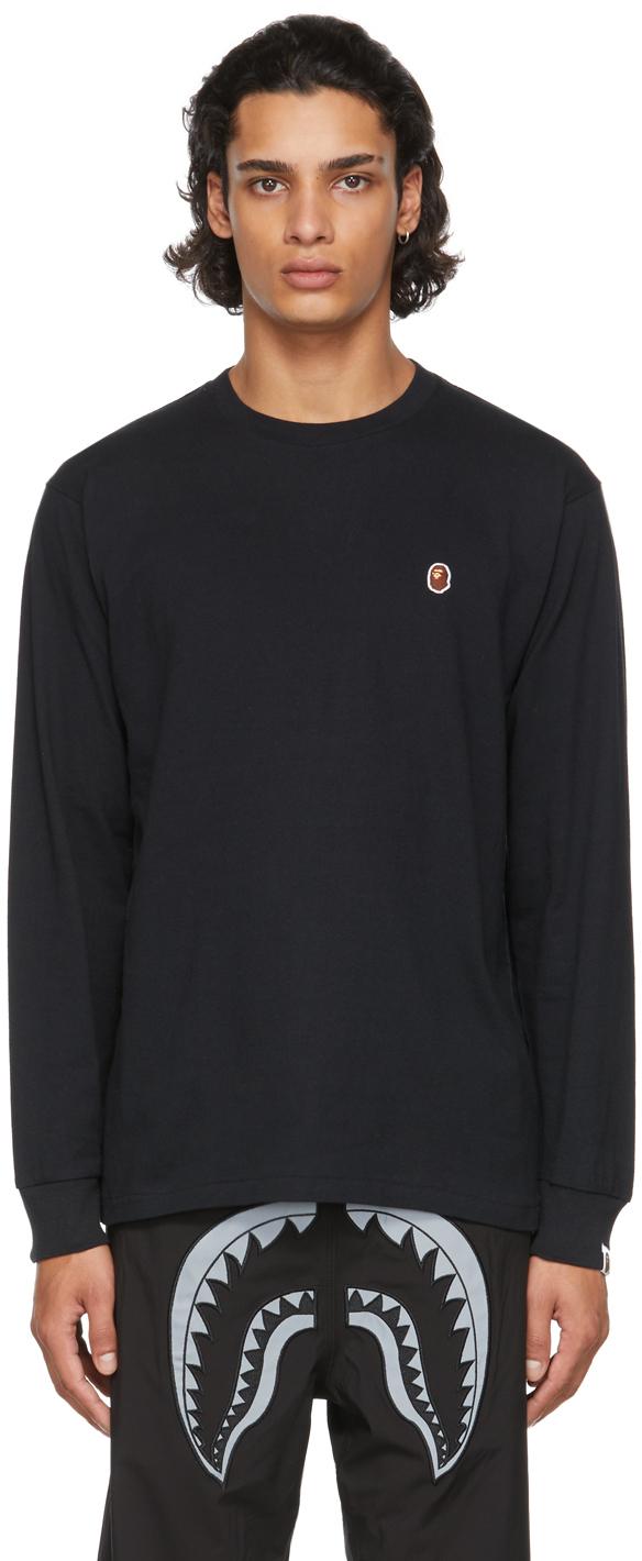Black One Point Ape Head Long Sleeve T-Shirt