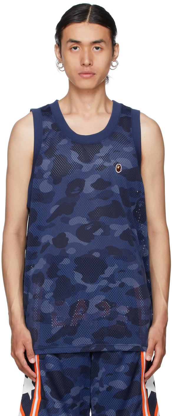 Navy Color Camo Mesh Basketball Tank Top