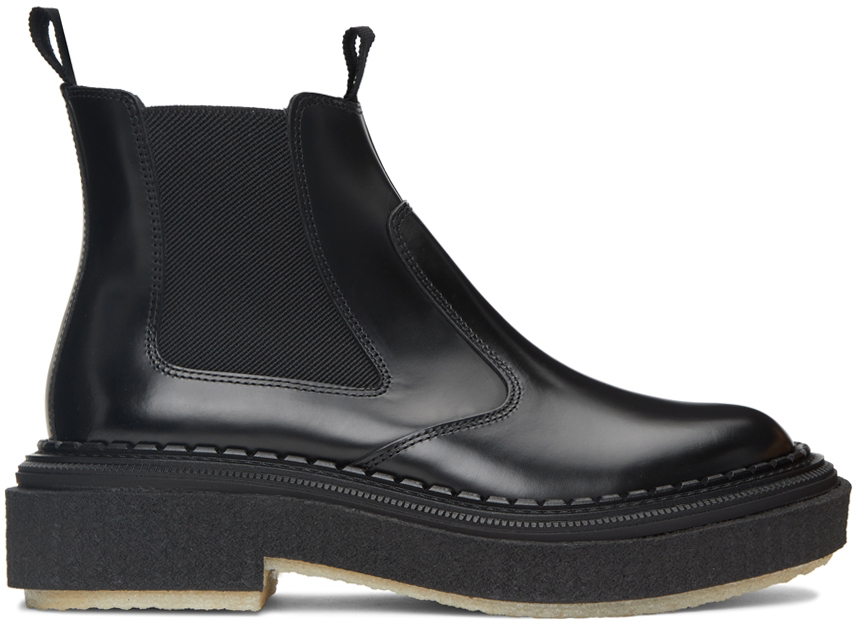 Black Polished Type 155 Chelsea Boots