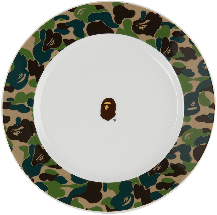 White & Green Camo ABC Plate