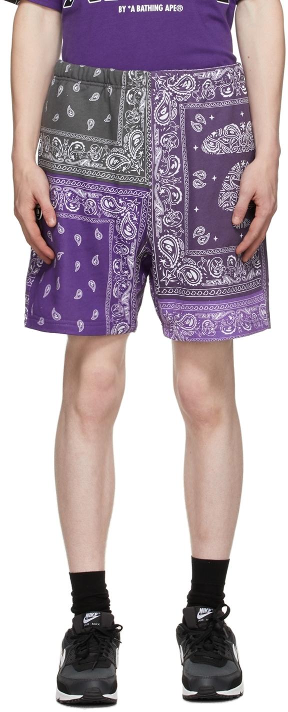 Purple Bandana Sweat Shorts