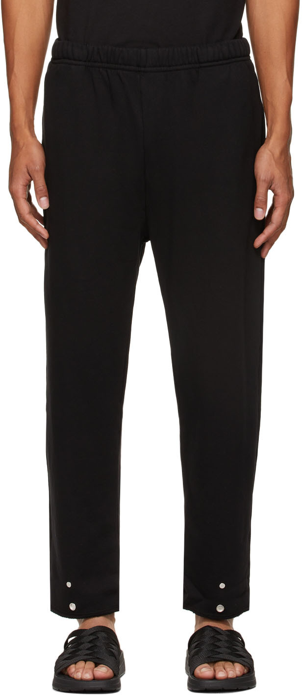 Black Heavyweight Snap Front Lounge Pants