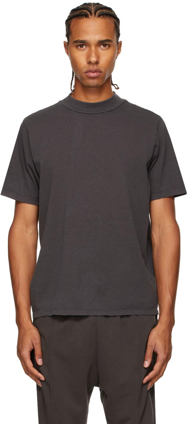 Grey Heavyweight Mock Neck T-Shirt